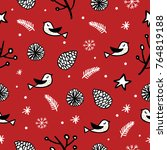 seamless christmas pattern with ... | Shutterstock .eps vector #764819188