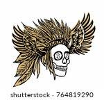 american indian skull hand...   Shutterstock .eps vector #764819290