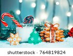 christmas gingerbread and milk... | Shutterstock . vector #764819824