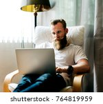 man working from home | Shutterstock . vector #764819959