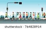 marathon run with the city as... | Shutterstock .eps vector #764828914