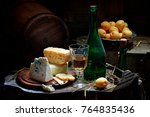 Still Life With Wine  Cheese...