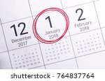 close up of january 2018 on... | Shutterstock . vector #764837764