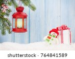 christmas candle lantern  gift... | Shutterstock . vector #764841589