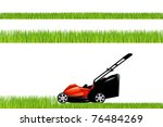lawnmower with grass set ...