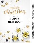 happy new year and merry... | Shutterstock .eps vector #764849788
