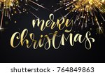 merry christmas greeting card... | Shutterstock .eps vector #764849863