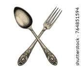 vintage crossed spoon and fork... | Shutterstock .eps vector #764851594