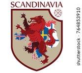 scandinavian design. heraldic... | Shutterstock .eps vector #764853910