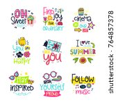 vector poster collection with...   Shutterstock .eps vector #764857378