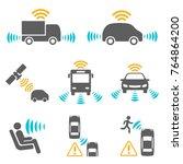 autonomous car icon set. driver ... | Shutterstock .eps vector #764864200
