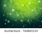 green nebula in outer space... | Shutterstock .eps vector #764865124