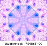 kaleidoscope violet flower.... | Shutterstock . vector #764865400