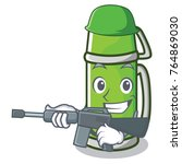 army thermos character cartoon... | Shutterstock .eps vector #764869030