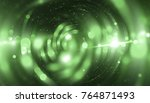 abstract green bokeh circles on ... | Shutterstock . vector #764871493
