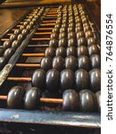 Small photo of Vintage abacus on wooden background