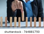 man hand pick one from many... | Shutterstock . vector #764881750
