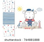 sailor bear. surface design and ... | Shutterstock .eps vector #764881888