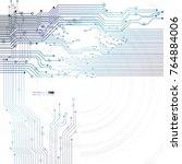 vector circuit board... | Shutterstock .eps vector #764884006