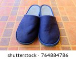 soft blue slippers. pair of... | Shutterstock . vector #764884786