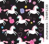 cute unicorns seamless pattern... | Shutterstock .eps vector #764891230