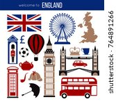 england uk sightseeing... | Shutterstock .eps vector #764891266