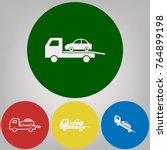 tow car evacuation sign. vector.... | Shutterstock .eps vector #764899198