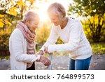 senior women on a walk in... | Shutterstock . vector #764899573