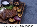 grilled steak black angus and... | Shutterstock . vector #764900833
