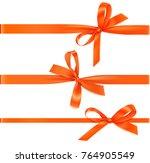 set of horizontal orange... | Shutterstock .eps vector #764905549