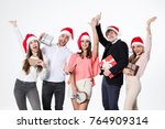 portrait happy people group... | Shutterstock . vector #764909314