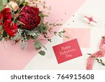 happy valentine's day gift card ... | Shutterstock . vector #764915608