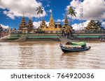 """Pagoda names """"YeLe Paya"""" in Syriam, the floating golden pagoda on small island in Myanmar"""