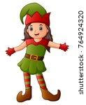 cartoon christmas elf presenting | Shutterstock . vector #764924320