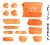 Set of Orange watercolor brush strokes. Vector brush stroke