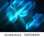 shiny neon glowing circles  dot ... | Shutterstock .eps vector #764928304