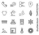 thin line icon set   phone ... | Shutterstock .eps vector #764931934