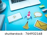start up concepts with rocket... | Shutterstock . vector #764932168