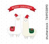 alpaca merry christmas happy... | Shutterstock .eps vector #764933890