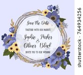 wedding invitation card suite... | Shutterstock .eps vector #764934256