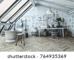 Stock photo modern scandinavian style bathroom interior with an eclectic collection of collectibles and 764935369