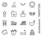 thin line icon set   atom ... | Shutterstock .eps vector #764937100