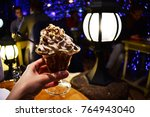 dessert of whipped cream with... | Shutterstock . vector #764943040