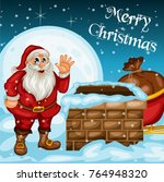merry christmas greeting card.... | Shutterstock .eps vector #764948320