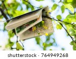 the book is hanging on a tree...   Shutterstock . vector #764949268
