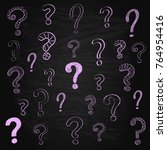 hand drawn question marks on... | Shutterstock .eps vector #764954416