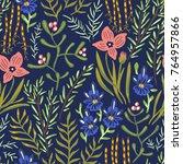 vector floral seamless botany...   Shutterstock .eps vector #764957866