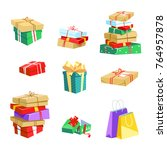 vector illustration set of gift ... | Shutterstock .eps vector #764957878