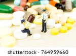 medicine pills or capsules on... | Shutterstock . vector #764959660