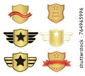 luxury premium golden badge... | Shutterstock .eps vector #764965996